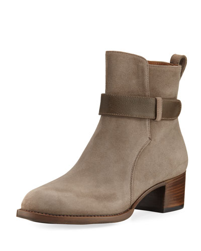 Suede Booties with Accent Strap