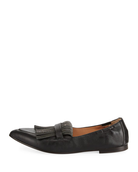 Leather Slip-On Loafer with Monili Fringe