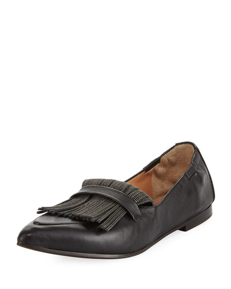 Brunello Cucinelli Leather Slip-On Loafer with Monili Fringe