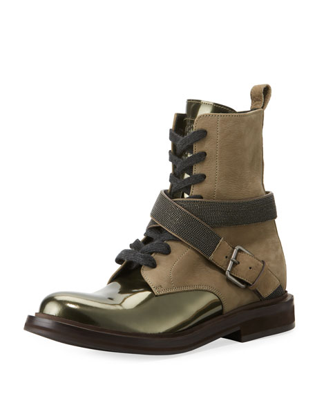 Brunello Cucinelli Leather Lace-Up Hiking Boot