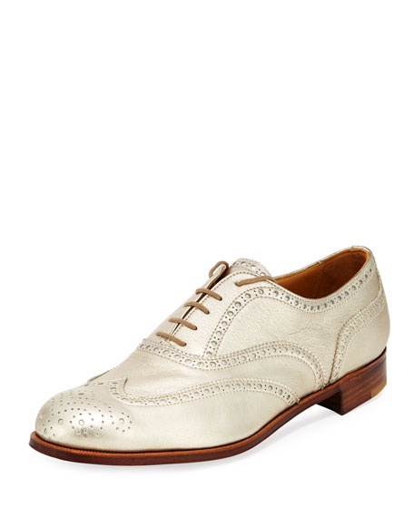 Gravati Metallic Leather Wing-Tip Oxford