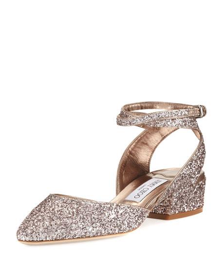 Jimmy Choo Vicky Glitter Ankle-Wrap Ballerina Flat, Tea