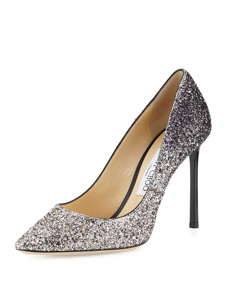 Jimmy Choo Romy Glitter Pointed-Toe 100mm Pump, Light Mocha/Black | Neiman  Marcus