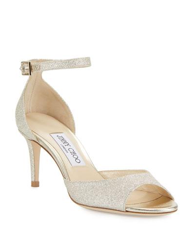 Annie Glitter 65mm Sandals  Platinum Ice