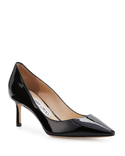 Romy 60mm Patent Pointed-Toe Pumps  Black