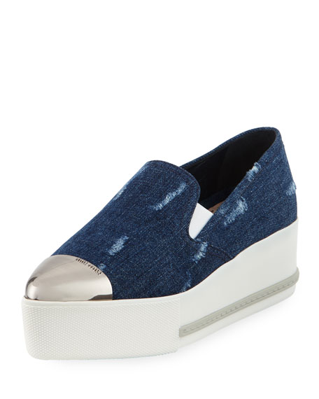 Miu Miu Distressed Denim Platform Sneakers