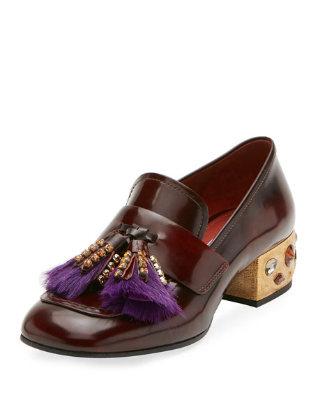 Prada Leather Embellished Tassel Loafer