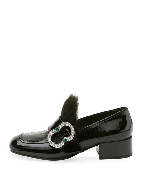 Patent Embellished 35mm Loafer, Black