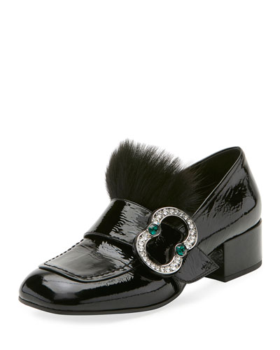 Patent Embellished 35mm Loafer, Black