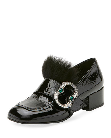 Prada Patent Embellished 35mm Loafer, Black