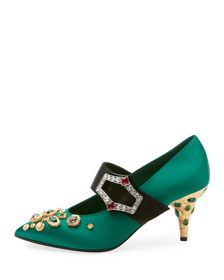 75mm Satin Mary Jane w/ Jeweled Heel