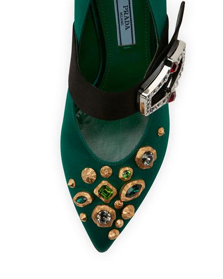 75mm Satin Mary Jane w/ Jeweled Heel