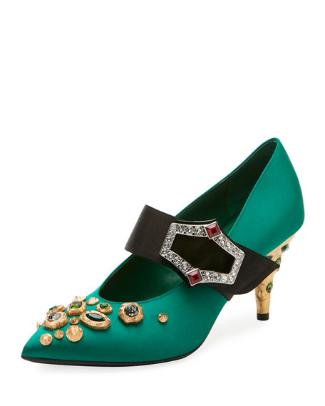 Prada 75mm Satin Mary Jane w/ Jeweled Heel