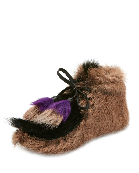 Prada Fur Tassel Self-Tie Boot