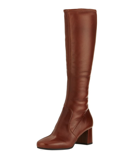 Prada Leather 55mm Knee Boot, Brown