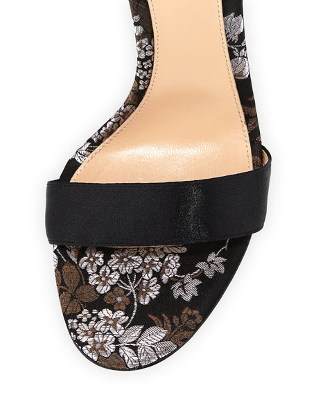 Floral-Print Satin 105mm Sandal