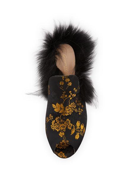 Benton Jacquard Fur-Trim 105mm Mule, Black