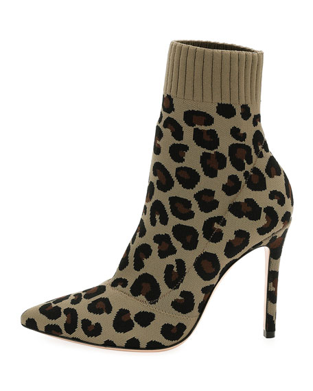 Sauvage Leopard Knit Sock Boot