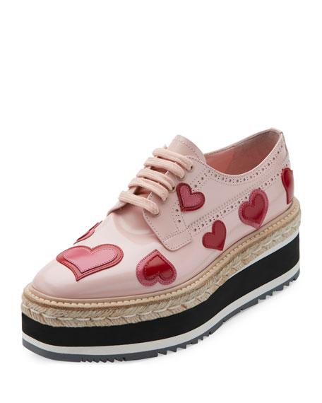 Prada Microsole Heart Platform Espadrille Sneaker, Orchidea