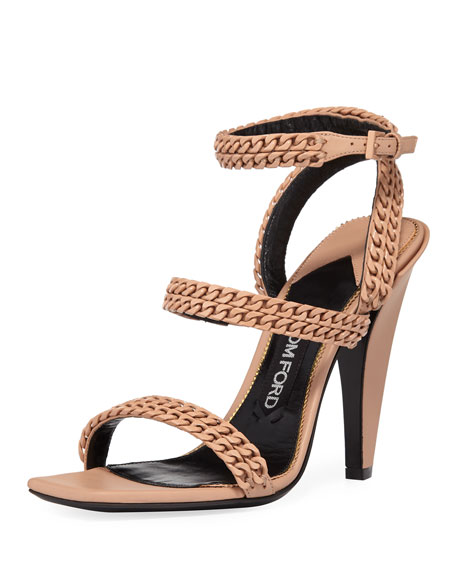 CHAIN STRAPPY 105MM SANDALS, BEIGE