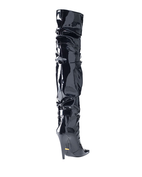 Scrunched Patent 105mm Boot, Black