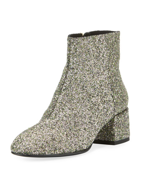 Dragon Glitter Zip-Up Bootie, Green Tea