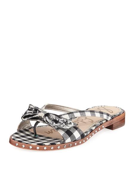 Sam Edelman Dariel Plaid Stud Flat Flip-Flop Sandal