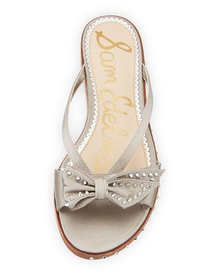 Dariel Studded Satin Bow Flat Thong Sandal