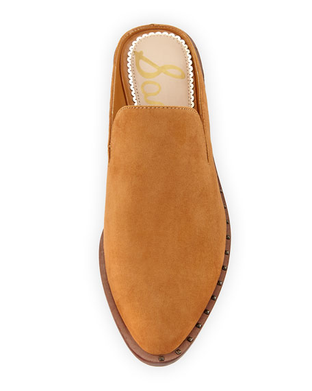 Lewellyn Low Stacked Suede Slide Loafer