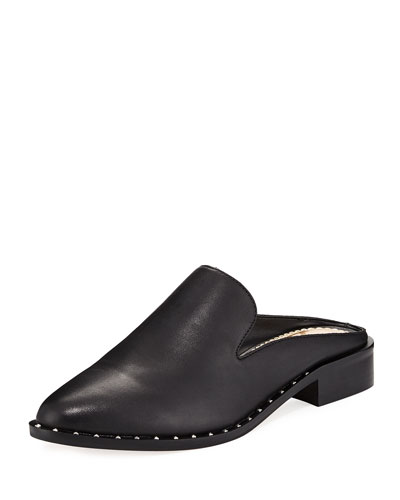 Lewellyn Low Stacked Calf Leather Slide Loafer