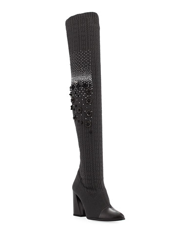Over-The-Knee Embellished Sock Boot, Charcoal