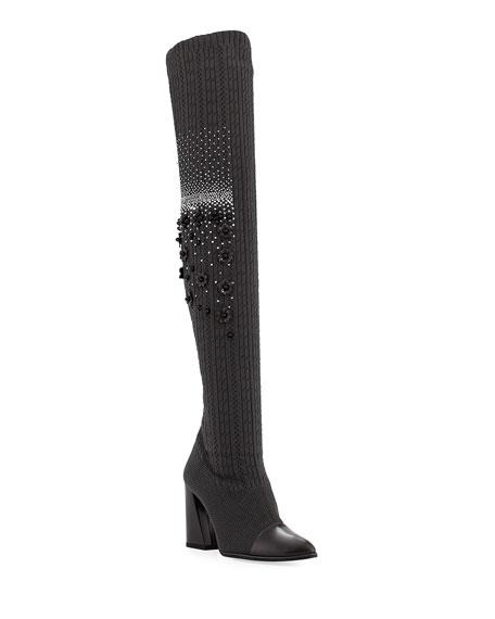 Stuart Weitzman Over-The-Knee Embellished Sock Boot, Charcoal