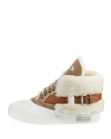 Suede Two-Tone High-Top Sneakers, Beige