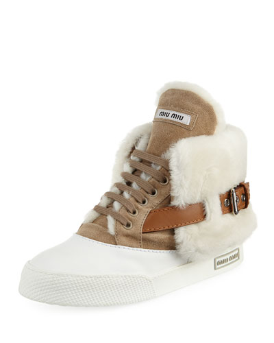 Suede Two-Tone High-Top Sneaker, Beige