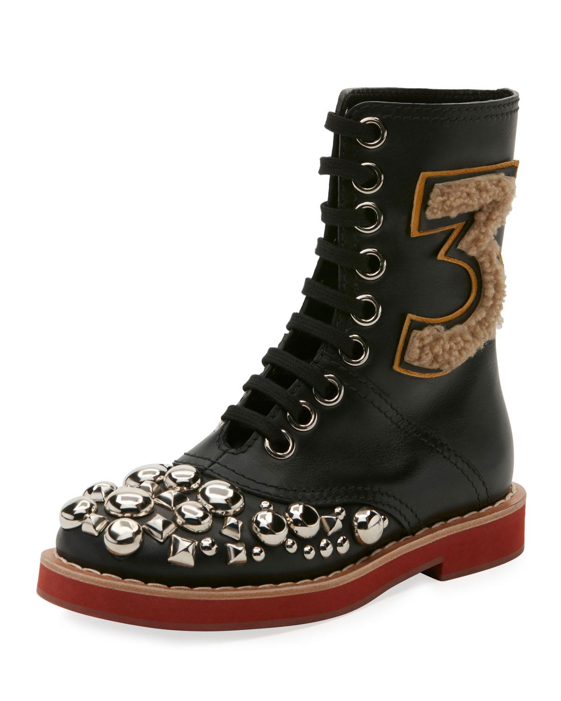 c42aef9ff87 Miu Miu Studded Lace-Up Leather Boot