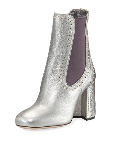Studded Metallic Leather Chelsea Boot