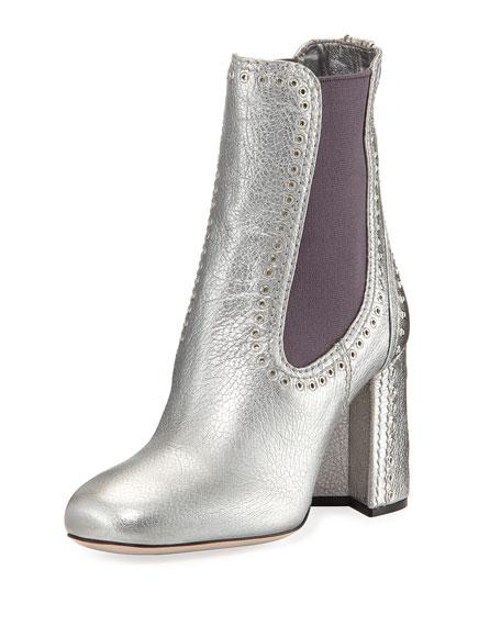 Studded Metallic Leather Chelsea Boot