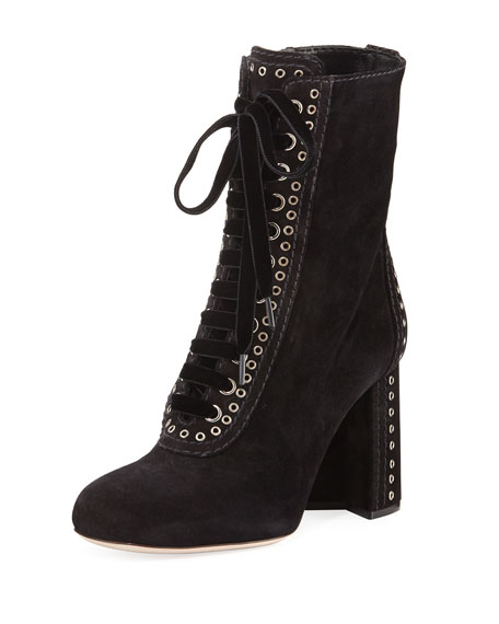 Miu Miu Lace-Up Bootie w/ Grommet Detail