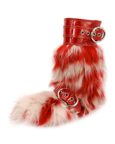 Miu Miu Striped Faux-Fur and Patent Boot