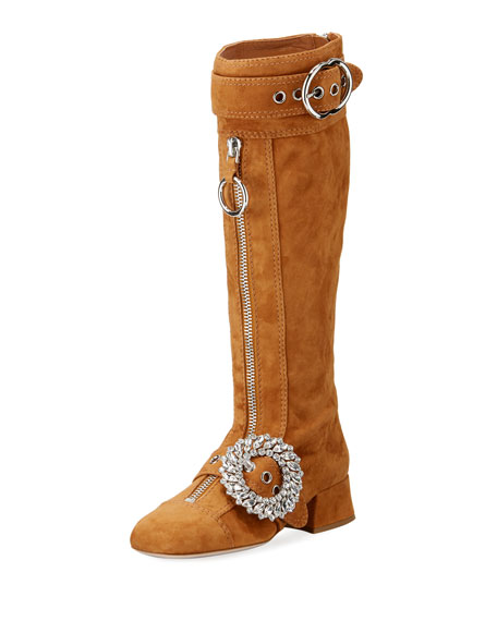 Miu Miu Suede Crystal-Embellished Knee-High Boot