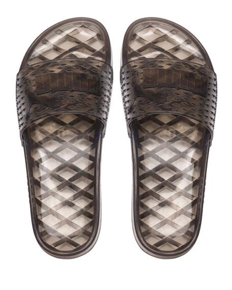Flat Jelly Slide Sandals, Black