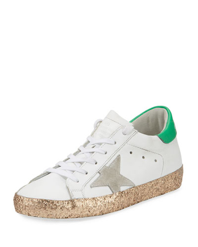 Superstar Glittered Platform Sneaker, White/Gold