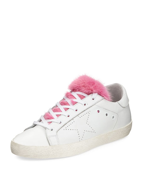Golden Goose Superstar Fur-Trim Low-Top Sneaker