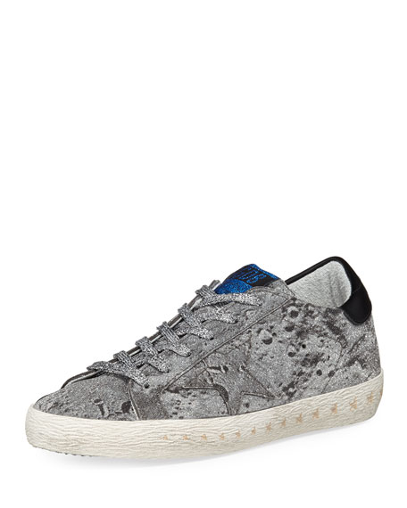 Golden Goose Superstar Glittered Platform Sneaker, Silver