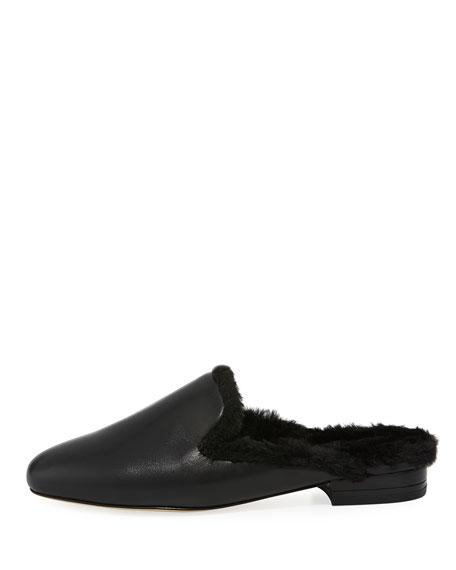 Natasha Flat Faux-Fur Mule Loafer
