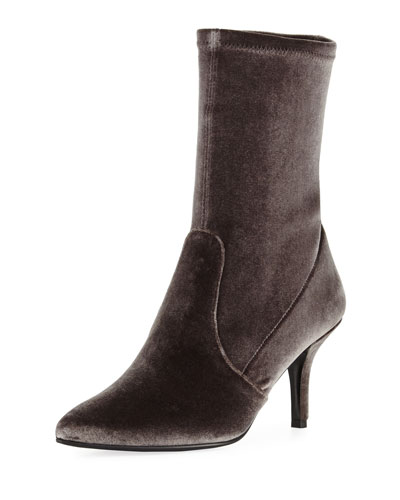 Cling Stretch-Velvet Sock Bootie, Smoke