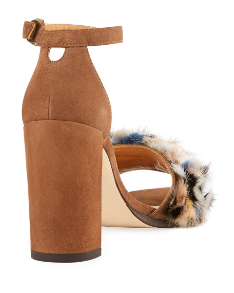 Icelandia Mink-Fur Chunky-Heel Sandal