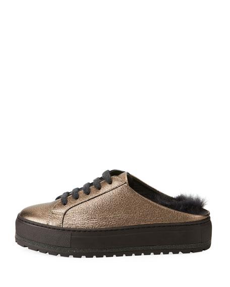 Fur-Lined Metallic Leather Slide Sneakers
