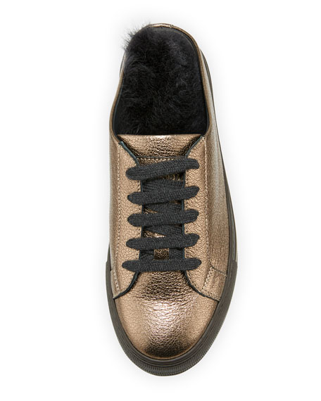 Fur-Lined Metallic Leather Slide Sneaker