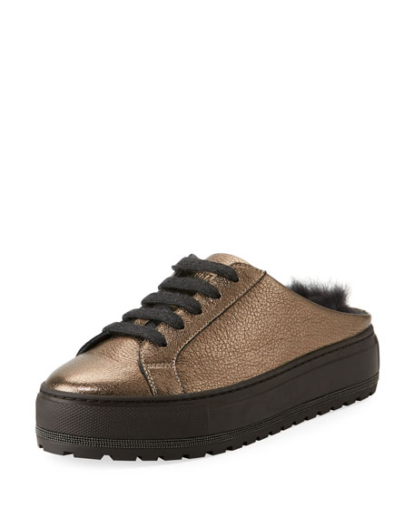 Brunello Cucinelli Fur-Lined Metallic Leather Slide Sneaker
